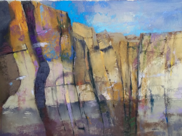 Albert Handell Canyon Pastel + Watercolor on Paper